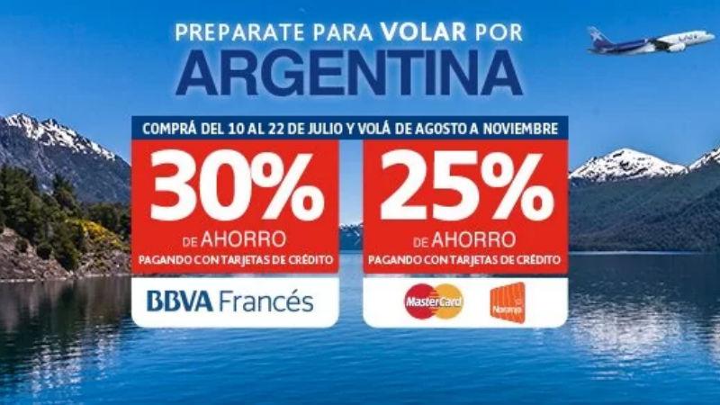 Hasta el 22 de Julio podes volar en Argentina con 30 de descuento