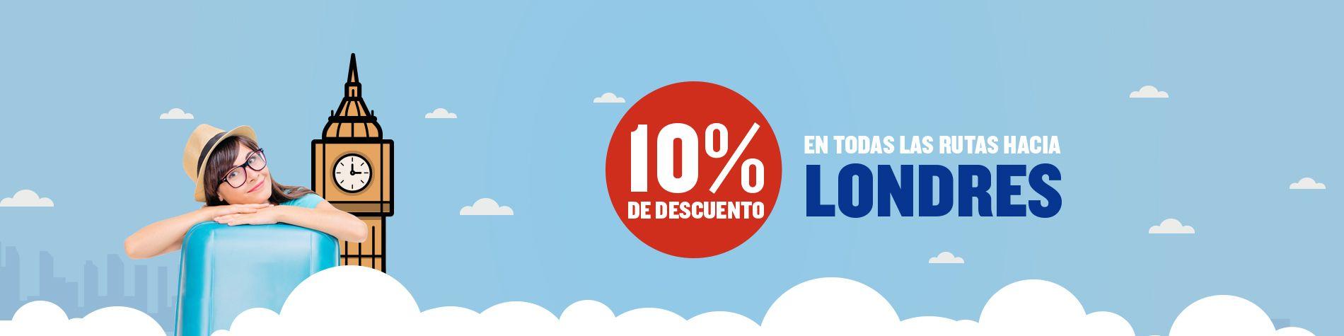 10% de descuento en todos los viajes a Londres con Ryanair