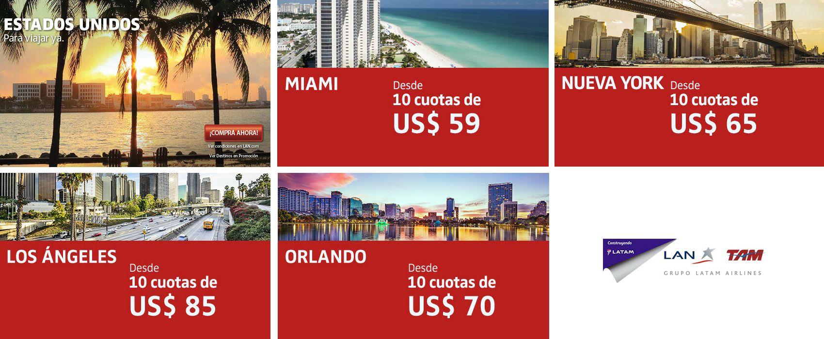 Promoción para viajar a Miami y Estados Unidos desde Uruguay con LATAM