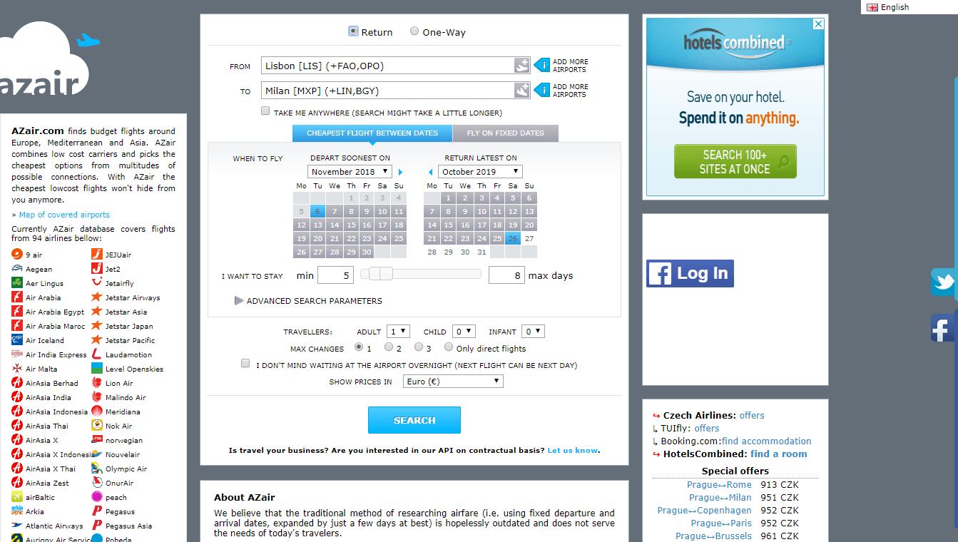 Azair.Eu el mejor sitio para encontrar los vuelos más baratos en Europa